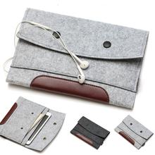 high quality Wool Felt bags for iPad mini 2/3& for ipad 2/3/4  leather&woolfelt sleeve for iPad air 2 tablet handmake color gray