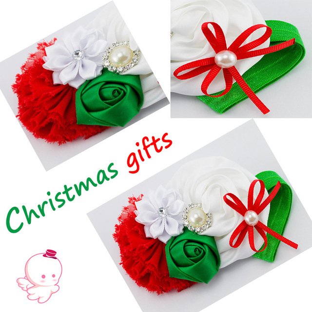 Baby Girl Christmas Gifts headbands satin rose flower and shabby chic vintage headband rhinestone pearl Button 12pcs/lot