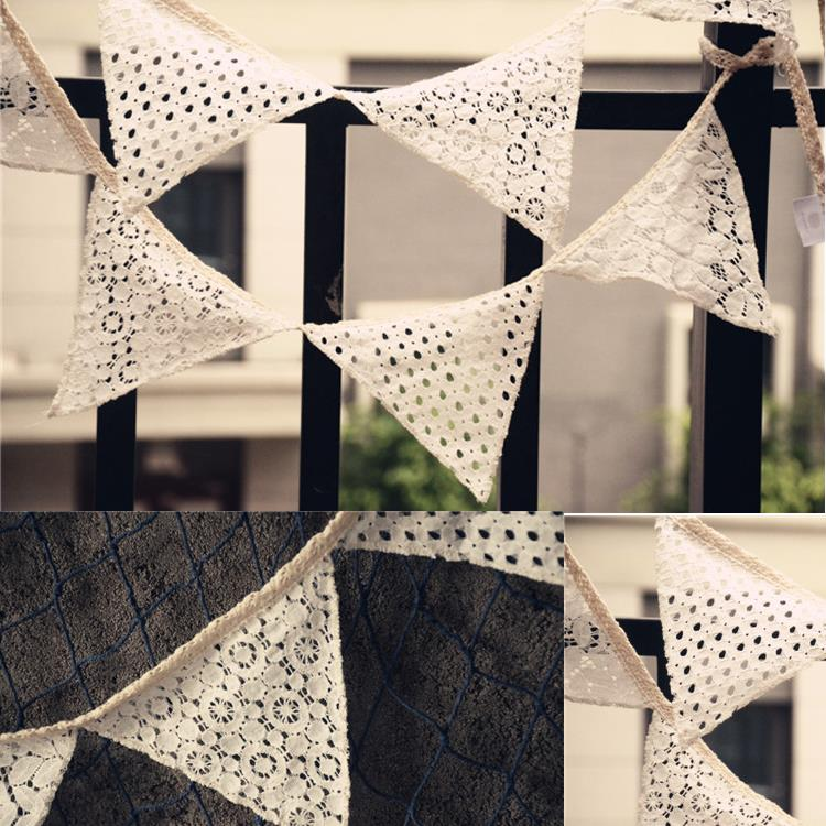 Romantic Vintage Lace Fabric Banners Personality Wedding Bunting Deco Birthday Baby Show Garland Decoration Accessories(China (Mainland))