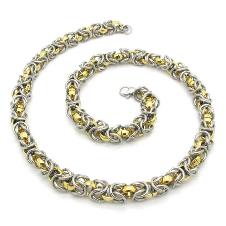 Heavy Silver and Gold Links Chain Necklace Jewelry, Top Selling Mens Rock Biker 316L Stainless Steel Cool Band Gift(China (Mainland))
