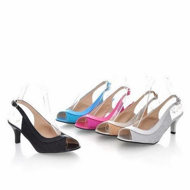 plu size 30-46 medium heels summer sandals for women causal shoes elegant open toe back strap women summer shoes