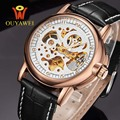 2016 NEWEST OUYAWEI Military mechanical watch Top Brand Luxurygold watch men leather skeleton reloj hombre