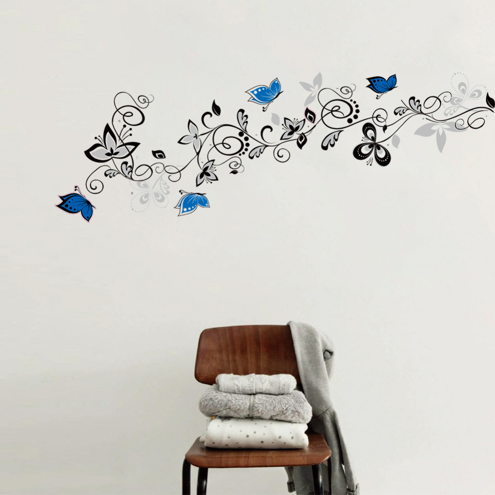 Flower vine blue butterfly diy wall stickers home decor for Wallpaper decals