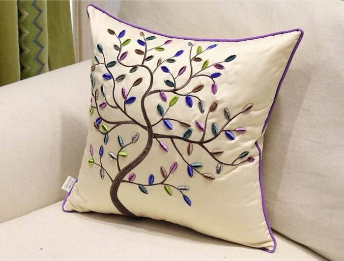 Embroidered Colorful tree Square Pillow Case Home Decorative Sofa Cushion Cover Cotton Linen CTHW002 - Best Natures store