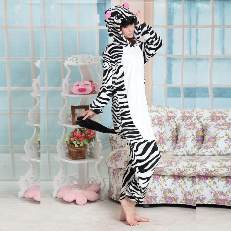 Cheap DHL Boys Girls Adult Winter Flannel Warm Zebra Pajamas Kigurums Onesie Cosplay Costume Homewear For Christmas Day(China (Mainland))