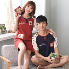 2015 cute 100% Cotton pajamas couples matching clothing pijama masculino feminino roupas de dormir mens shorts pyjamas D40-37(China (Mainland))
