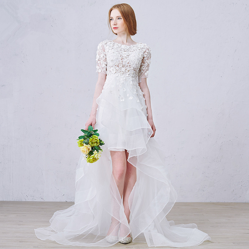 OMYW0231 half sleeve top lace applique sexy short front long back wedding dress(China (Mainland))