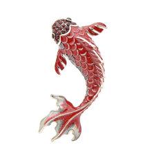 Cindy Xiang 3 Warna Tersedia Merah Enamel Ikan Bros untuk Wanita Ikan Mas Besar Pin Hewan Gaya Perhiasan Fesyen Bros Mantel broch(China)