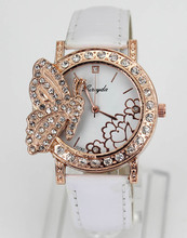 Butterfly Crystal Decor Flower Dial 4 Color Women Ladies Dress Fashion Watch Watches