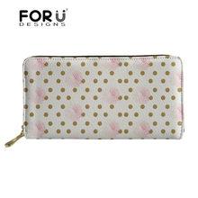 FORUDESIGNS/женский кошелек для монет, ID, держатель для карт, Винтажный Розовый цветок и Золотой горошек, кожаный кошелек с принтом, женский клатч(China)