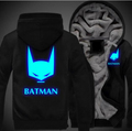 New Batman Men Women Cosplay Luminous Zipper Jacket Sweatshirts Thicken Hoodie Coat