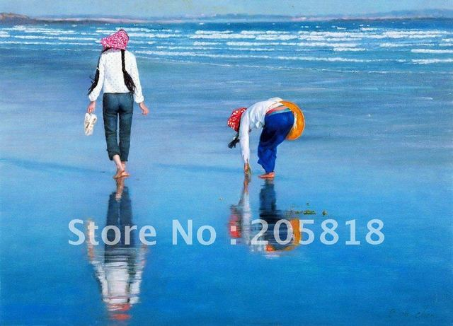 Seaside worker Girls-reproduction oil paintings on canvas,Marine oil arts hotel,harbor scenery oil painting,hot sale,free ship