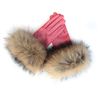Leather gloves fashion raccoon fur plus cotton thermal genuine leather sheepskin gloves femaleОдежда и ак�е��уары<br><br><br>Aliexpress