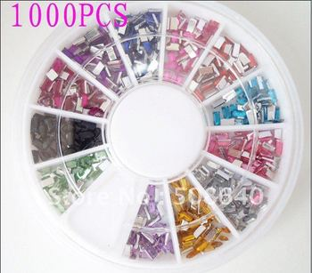 Free shipping 1.5*3mm  Rectangle NAIL ART RHINESTONES for Nail Art Decoration 12color 1000pcs + Wheel 128