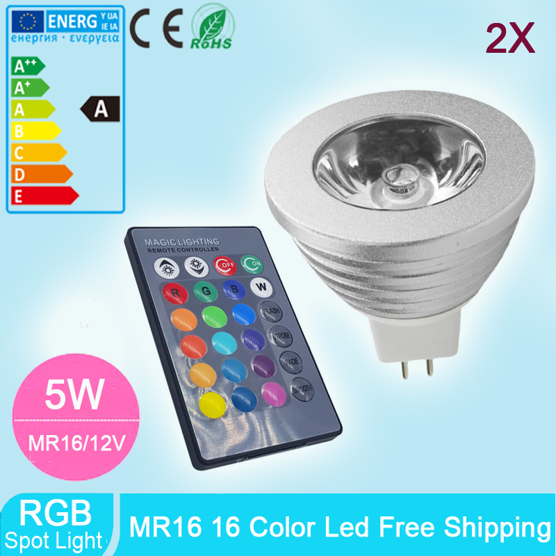 2pcs mr16 5w spotlight rgb lamp led 12v dimmable light spot bulb bombilla with 24key ir remote. Black Bedroom Furniture Sets. Home Design Ideas