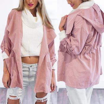 2016 hot sales Womens Warm Fashion Hooded Long Coat wind coat Windbreaker Outwear #NS382