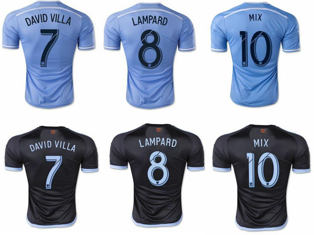 2015 New York city FC Soccer Jersey NYCFC 15/16 Major League Soccer LAMPARD DAVID VILLA thai quality Home Blue Football Shirt(China (Mainland))