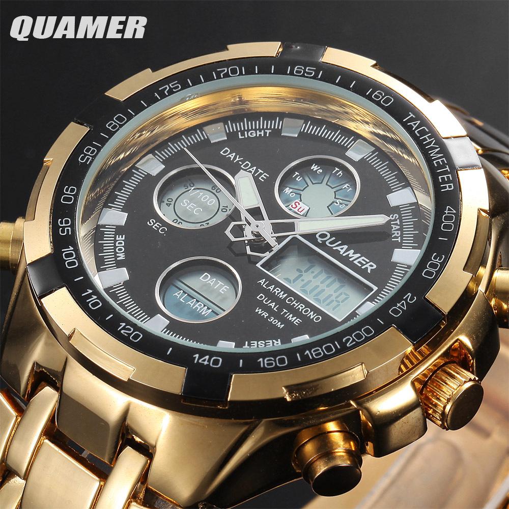 2015 Military Watches Men Luxury Brand Full steel Watch Sports Quartz Multi-function LED Display Wri