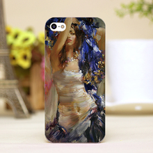 pz0020-4 oil painting sexy lady Design cellphone transparent cover cases for iphone 4 5 5c 5s 6 6plus Hard Shell