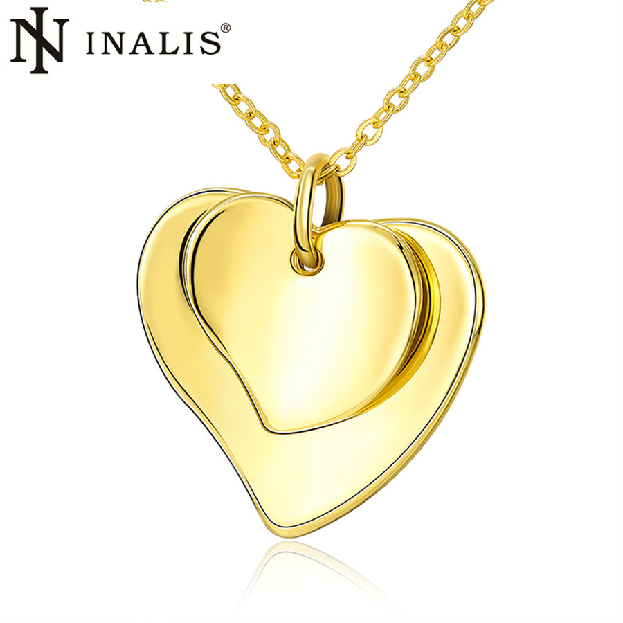 INALIS Brand Choker Necklace Jewelry 2016 Europe and America Hot Sale Women Romantic Fashion Heart Pendant Necklaces Gold Plated(China (Mainland))