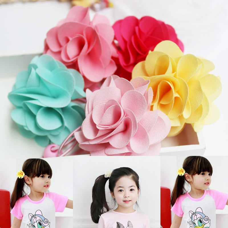 5 Colors! New Fashion Girls Elastic Hair Bands Pink Red Flower Ponytail Holder Rope Kids Hair Barrette Accessories(China (Mainland))