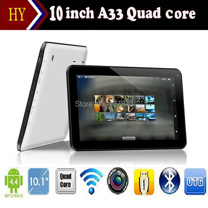 10 inch Allwinner A33 Quad Core Bluetooth Android 4.4 Mini Tablet PC Pad 1GB RAM 16G Wifi Dual camera Skype Youtube Google Store(China (Mainland))