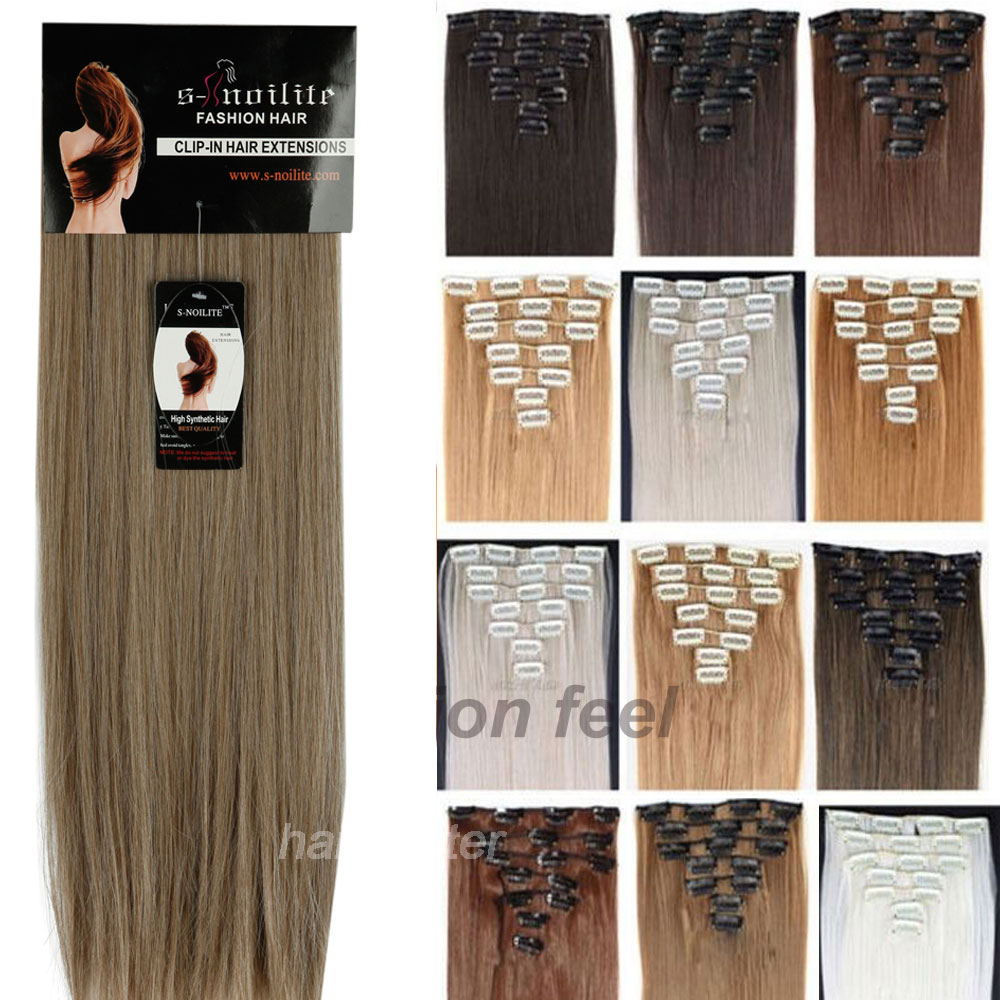 """170G Clip in ins Hair Extensions Full Head Synthetic 26"""" 66CM For Party/Gift Professional US UK 1-5 Delivery day(China (Mainland))"""