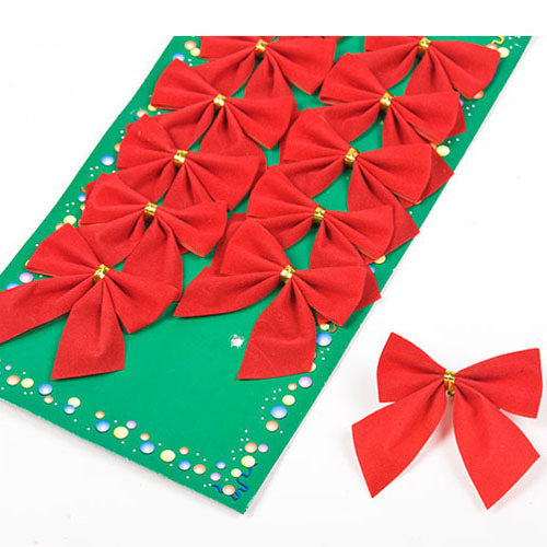 12pcs/pack Pretty Red Bowknots For Festival Decoration Christmas Tree Christmas Ornament(China (Mainland))