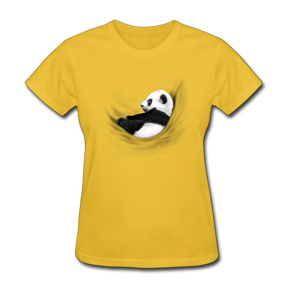 100 coton femmes t shirt panda gar on imprimer propre style r gulier t shirts femmes dans t. Black Bedroom Furniture Sets. Home Design Ideas