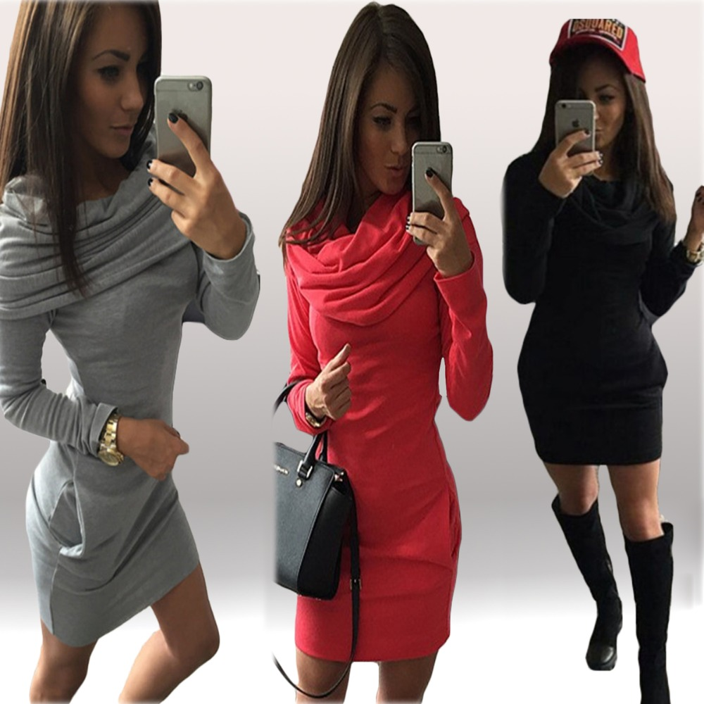 Women autumn dresses 2015 long sleeve Shawl Collar Wear a hat clothing Vestidos femininos Vintage casual red black gray dress(China (Mainland))