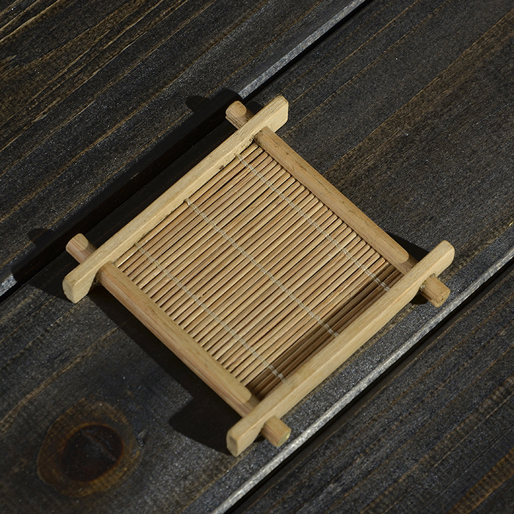 6pcs Lot Chinese Bamboo Dish Coasters Ceramic Kung Fu Tea