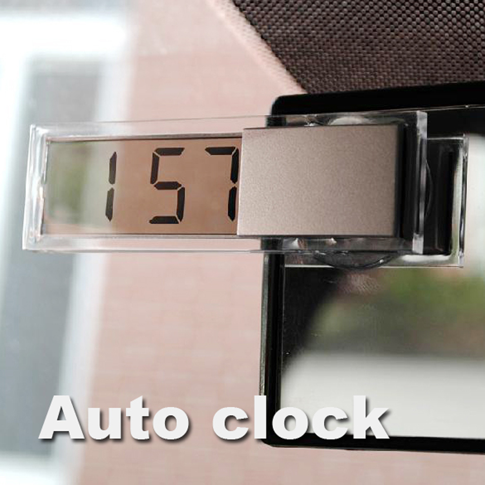 Mini Durable Transparent Clock with Sucker Digital LCD Display Car Electronic Clock with Sucker Silver(China (Mainland))