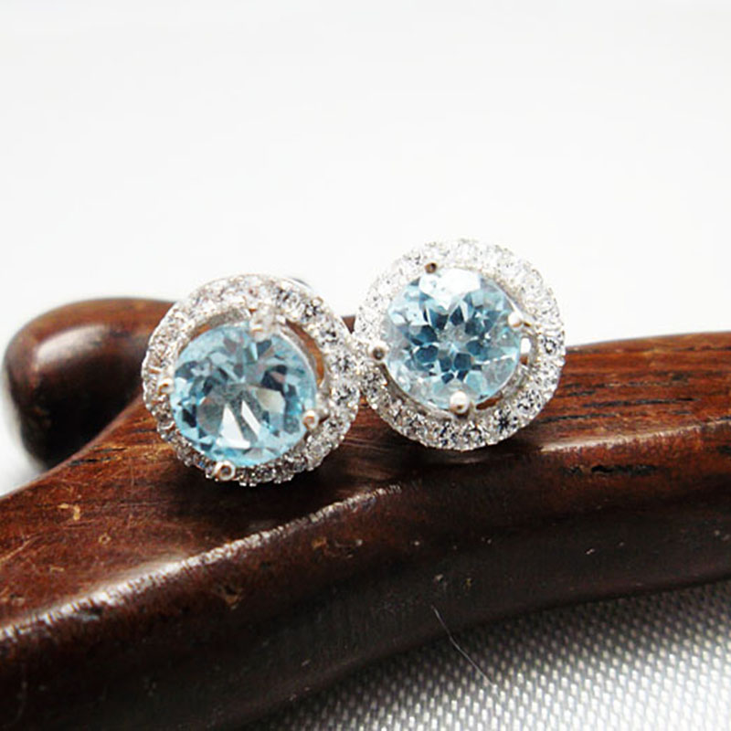 Charme Vintage earrings women 925 Solid Sterling Silver stud round brilliant cut 100% natural topaz - CoLife Jewelry store