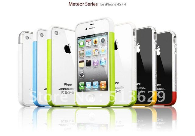 Hot sell 20pcs/lot bumper case for Iphone 4s cell phone defender cases free shipping+10 colors optional