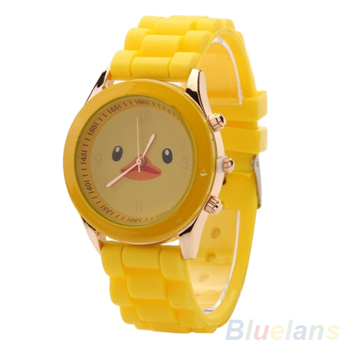Colorful ladies watch Yellow Duck Geneva Silicone Jelly Gel Quartz Analog Sports wristwatches 03YH - Fan's Jewerly Store store
