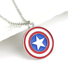 Hot Sale Marvel Comics Captain America Small Shield Logo Chain Necklace Charm Pendent Jewelry Gift choker Souvenir necklaces(China (Mainland))