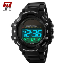 TTLIFE Mens Sports Watches Solar Power Male LED Digital 50m Water Resistance Watch Outdoor Running Clock Wristwatches for Men(China (Mainland))