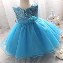 2016 Girl Dress Sequins Pageant Party Baby Kids Clothing Flower Baby Girl Christening Gowns For Princess Toddler Girls Clothes(China (Mainland))