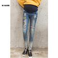 Maternity Fashion Hole Embroidery Jeans Autumn Winter Plus Size Cotton Pregnant Clothing Denim Pants Autumn Large