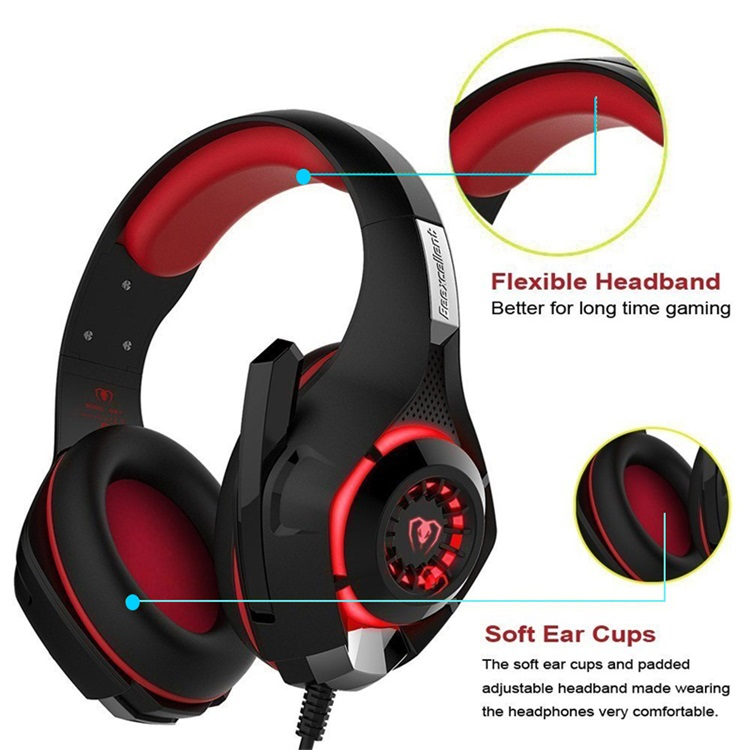 2017New Game Headset PS4 PSP PC Headset Tablet PC Laptop Microphone, 3.5mm Headband Light Cool Headphone and Adapter Cable