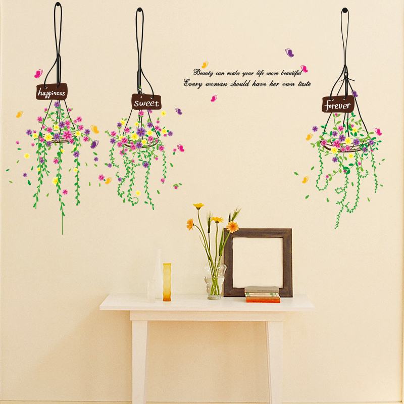 High Quality Colorful Hanging Basket Wall Sticker Living Room Bedroom Decoration Environment Friendly PVC Material Sticker(China (Mainland))