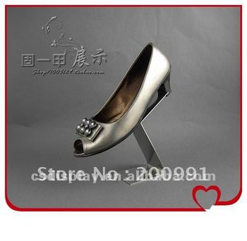 fashion stainless steel single shoe display stand metal shoes display racks creative design booth display exhibition