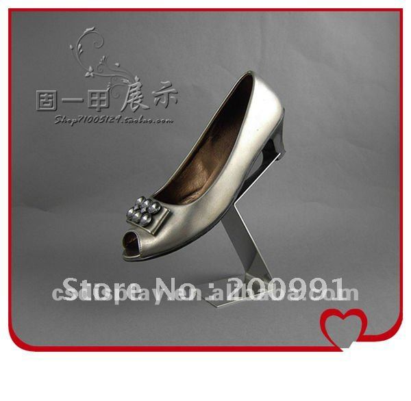 fashion stainless steel single shoe display stand metal shoes display racks creative design booth display exhibition(China (Mainland))