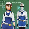 Pokemon GO Cosplay Costume Pokemon Pocket Monster Trainer Female Costume with Hat Blue Adult Women Halloween