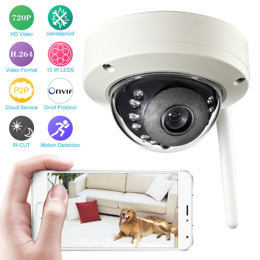 Wireless Dome Cam 720P IP Camera WIFI ONVIF 1.0MP Waterproof Security CCTV Camera Wireless IR-CUT Night Vision Motion Detection(China (Mainland))