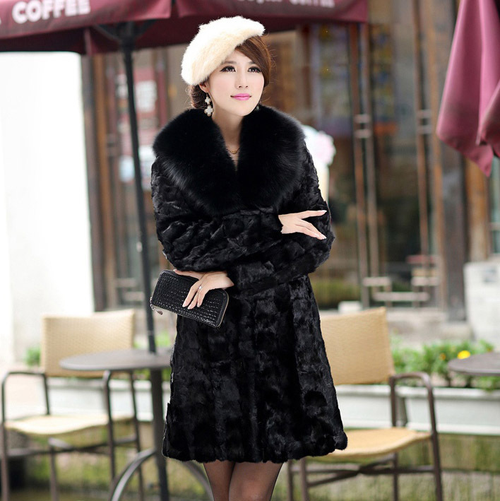 Natural Real Mink Fur Overcoat Luxury Women Long Coat Fashion Big Fox Collar Jacket Warm lady Winter - Small Word store