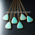 WT N437 Fashion necklace 24k gold electroplated Natural Turquoise Connector Pendant Triangle Turquoise necklace
