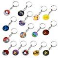 2pcs Pokemon Go Harry Potter Light Pendant Glass Pendant Key Action Figure Pop Funko Silver Pendant Keychain Toys Gifts
