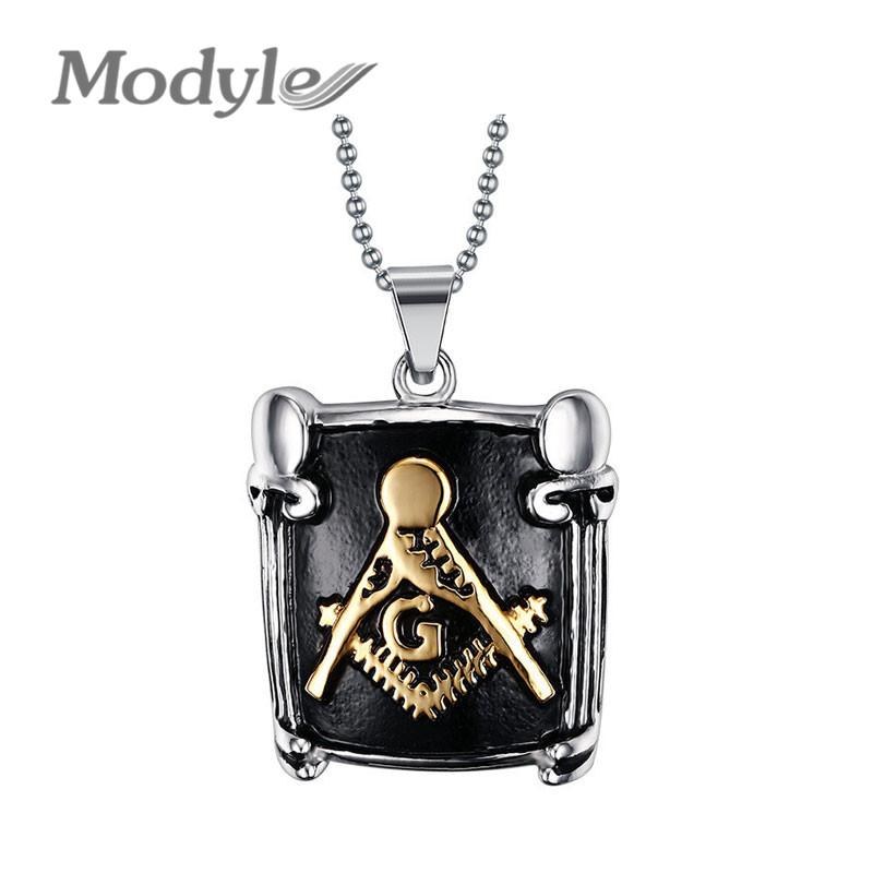 Top quality masonic pendant necklace stainless steel freemasonry men man jewelry christmas gift(China (Mainland))
