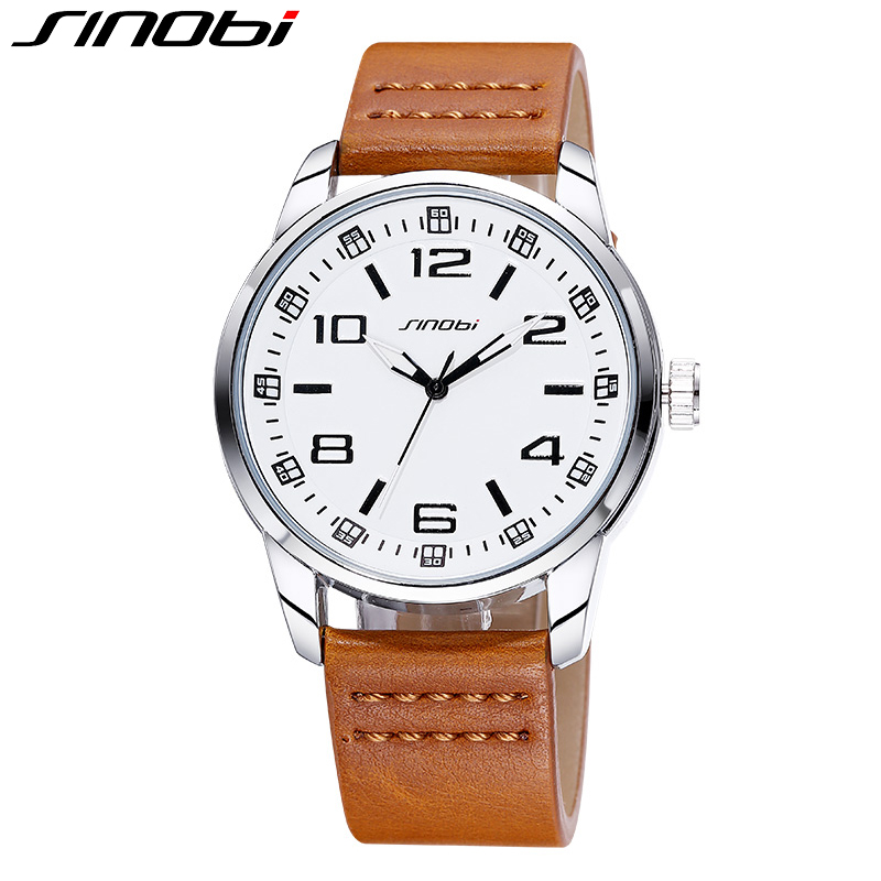 SINOBI Quartz Watches Men Auto Date Waterproof Wristwatch Sports Military Leather Watches Casual Clock 2016 relogio masculino <br><br>Aliexpress